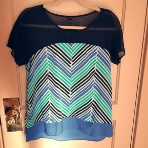 Blue and green sheer neckline blouse by Ann Taylor